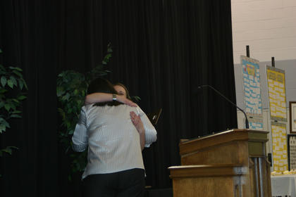 Emotions flooded when Angel French was presented the Chamber of Commerce President's Award by Director Krista Levee.