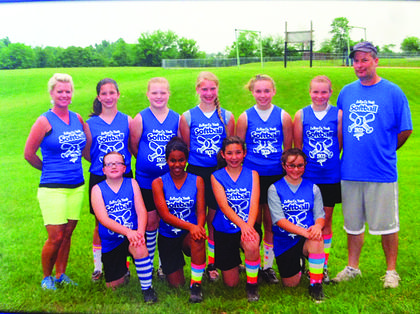 The Lady Jaggzz were 14-U girls softball league winners and took third-place in the tournament. They are from left, Hankey Coursey, Jadah Montgomery, Kateyln Boone, Tayler Rinehart, Kristin Boone, Harley Coursey, Chloe Childress, Brittany Blair and Haley Henson. The team is coached by JJ and Bonnie Childress.