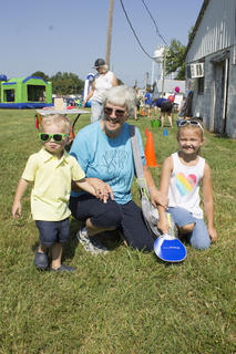Layson Pickerell (left) was showing off his sunglasses while spending Kid's Day with Lisa Pickerell and Ella Bain.