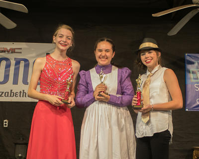 The winners of the Coca-Cola Talent Classic are pictured from right Caroline Borders, 14 of Elizabethtown (first place); Kaylee Whitman, 14, of Elizabethtown (second place) and Adrienne Mabe, 13, of Elizabethtown.