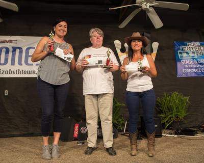 Left, The winners of the karaoke contest are pictured from left Kristen Davis (first place), Marie Riggs (second place) and Kimberly Davis (third place.).