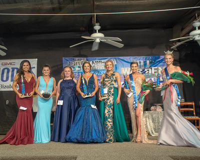The Miss LaRue County Fair court is pictured from left: Melanie Horn -Miss Congenitally, Annie Cross – Peoples Choice, Emily Miller- Miss LC -local 1st runner up, Zoey Ellen Norris- 2nd runner up Miss LaRue County Fair, Kassidy Alward-1st runner up Miss LaRue County fair, Ally June VanHook- Miss LaRue County Fair and Chloe Childress- Miss LaRue County.