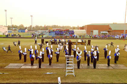 The LaRue County High School Band of Hawks performed at the Lincoln Days Invitational.