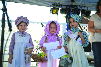 The winners of the Little Sarah contest are pictured from left, Allison Pepper (second place) and Kinzleigh Brook Hack (third place). Ellie Grace Day (first place).