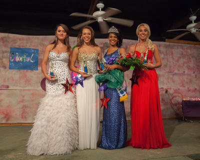 Miss LaRue County Fair winners are from left, second runner-up Whitney Nicole Heath, 17, of Magnolia; first runner-up Erin Elizabeth Jaggers, 15, of Greensburg; Miss LaRue County Fair and Most Photogenic Patricia Ann Gibson; and Miss Congeniality Danielle Brockman, 21, of Versailles.