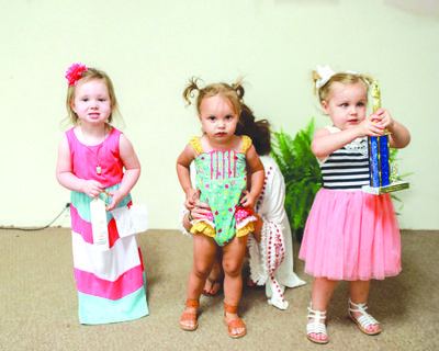 2 to 3 year olds Most Beautiful Girl from left to right, Third Place, Madilynn Ann Lewis, Parents - Austin and Krystal Lewis, Second Place, Millie Reece, Parents - Jayma and Landon Whitlock, First Place, Annie Mae Roberts, Parents - Ben and Angela Roberts