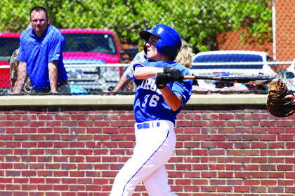 Seventh-grader Noah Davis took a swing in recent baseball action