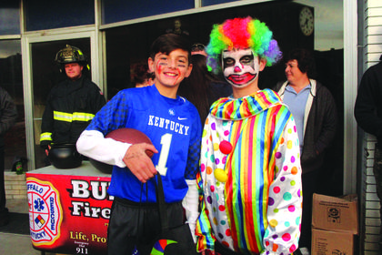 Landon Blakey, 10, of Hodgenville came as a UK football player and Jakin Pruitt,12, of Hodgenville came as a clown.