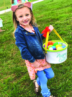 Kampbell McDowell, 5, of Hodgenville is pictured at the Easter egg hunt at South Fork Baptist Church.