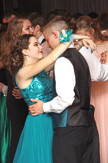 Elyssa Hawkins and Sean Smith share a sweet moment during a slow dance
