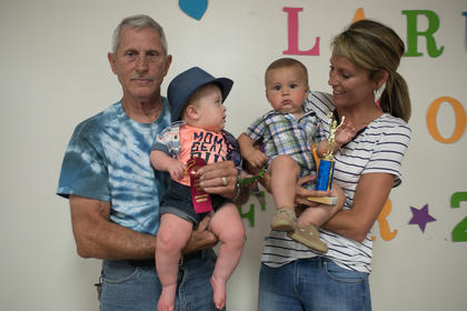 The winners of the most handsome little boy five-months-old to one-year-old contest were from left Brady Thomas Bell, nine-months-old, of Hodgenville (second place) and  Kelton David McDowell, seven-months-old, of Hodgenville (winner)