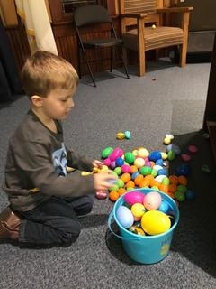 Tate Stults, 4, of Hodgenville is pictured with all of his eggs.