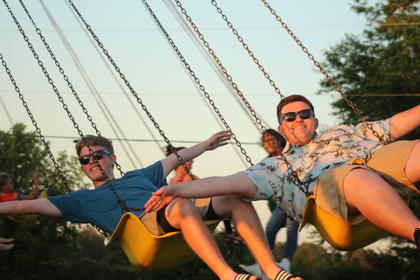 Seth Lawson (left) and Gilbert Cox (right), both of Hodgenville, were flying high on the swings.