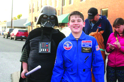 Pilot Bradley Laugher, 11, of Hodgenville was spotted with a pilot from the dark side, Darth Vader, aka Xander Perkins, 10, of Hodgenville.
