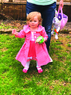 Emma Nunn (16 months) hunting Easter eggs for the first time. She is the daughter of Ray and Megan Nunn of Sonora.