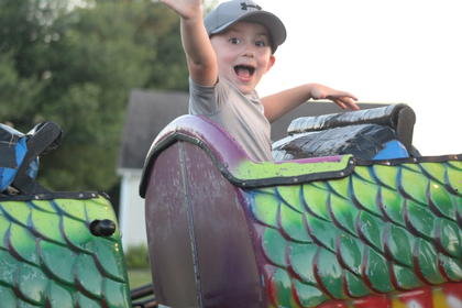 The excitement meter was at its peak for Jaxen McBride of Hodgenville as he rode the rides at the fair.