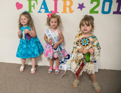 The winners of the most beautiful little girl two to three-years-old are pictured from left Amelia Doty, 2, of Hodgenville (third place), Baylee Elizabeth Ball, 2, of Lexington (first place) and Ralgan Gusler, 2, of Hodgenville (second place).