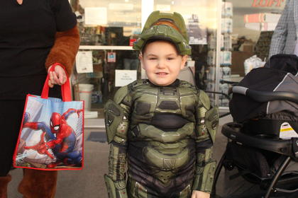 Master Chief (Aiden Harper, 5, of Hodgenville) had to lift his mask up to get a breath of fresh air.