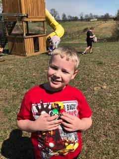 Caden Hack, 9, of Hodgenville sports some cool eggs he found.