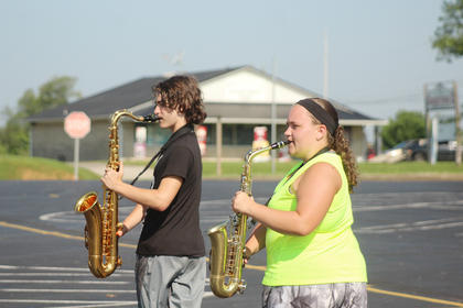 Pictured from left are saxophone players Jacob Pellegrino and Breana Blunk.