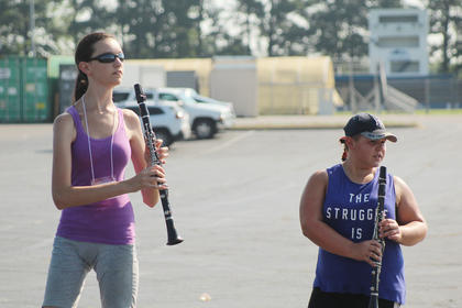 The clarinet section practiced in their separate group during summer camp last Thursday. Pictured from left are Marienne Lamoreaux and Cece Madrigal.