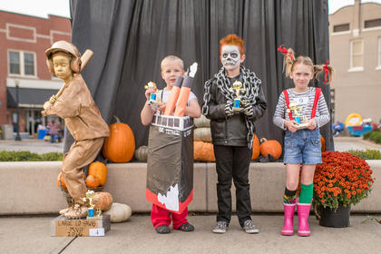 7-8 year old. Most Original – Isabella Day; Funniest – Caden Hack;  Scariest – Skyler Wash; Cutest – Kaylee Morrow