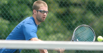 LaRue County's Bo Haun competes in a doubles match in the region tournament Saturday at University Drive Park in Elizabethtown.