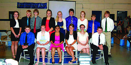 The eighth-graders at St. Catherine Academy in New Haven graduated on May 16. Students are Samantha Ballard, Sarah Barnes, Cameron Boone, Kayla Bryan, Justin Culver, Laken Culver, Levi Culver, Claire Hicks, Jacob Hopkins, Cassidy Mahoney, Jarret Stiles, Karina Thompson, Jeremy Watkins, Cameron Wimsett and Chandler Wimsett.