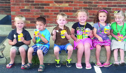 LaRue Baptist Church held vacation Bible school earlier this month. Above,  the 3-4-year-olds enjoyed ice cream. From left, Evan McNeil, Everette Neal, Seth Williamson, Hensley Warren, Kloe Thompson and Katie Kennedy.