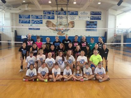 The Lady Hawks Volleyball Team conducted a two-day clinic last week for younger students. Front from left, Macy Stillwell, Carlie Graham, Clara Walsh, Layla Ward, Shelby Ward, Samantha Perkins, Olivia Bingham; second row, Makenzie Hornback, Lily Norman, Katelyn Eads, Olivia Hazelwood, Samantha Martin, Addie Ann Cundiff, Halle Stillwell; third row, Celeste Menard, Bella Garcia, Breea Kirkpatrick, Autumn Roten, Lorren Newby, Kylie Rogers, Scarlett Redmon, Sadie Peters, Keeahna Bowen, Brooke Davis; back, Head Volleyball Coach Ben Schell, Cidney Neagle, Ashley Hornback, Chloe Owen, Ivy Brown, Melika Menard, MacKenzie Bradley, Kelsey Rutledge and Gracen Williams. Not pictured, assistant coach Kendrick Bryan.