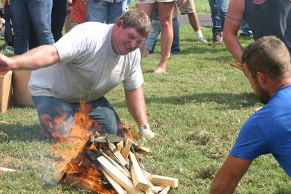 Fire burns hot during the water boil relay.