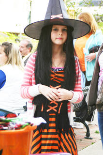 Emma Cobble dressed as a witch.